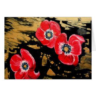 Annemones rouge - art abstrait carte de vœux