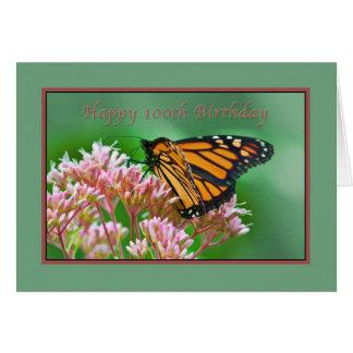 Anniversaire, 100th, carte de papillon de monarque