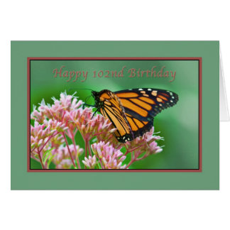 Anniversaire, 102nd, carte de papillon de monarque