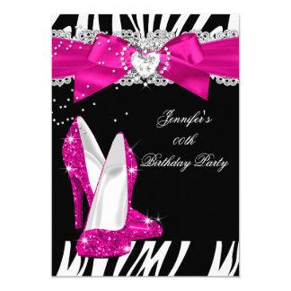 Anniversaire 4 de noir de chaussure de talon haut carton d'invitation  12,7 cm x 17,78 cm