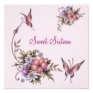 Anniversaire 4 floraux assez roses du sweet carton d'invitation  13,33 cm