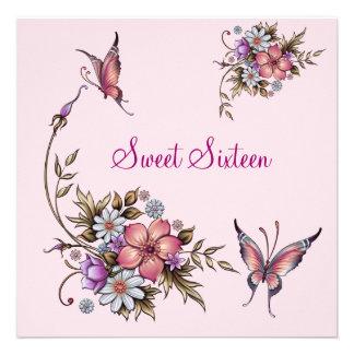 Anniversaire 4 floraux assez roses du sweet sixtee invitations personnalisables