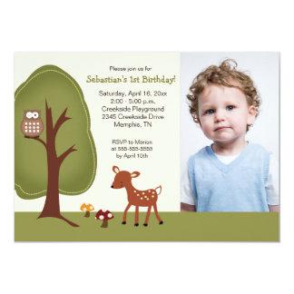 Anniversaire 5x7 de *PHOTO* de cerfs communs de Carton D'invitation 12,7 Cm X 17,78 Cm