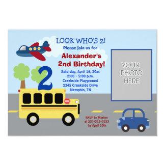 Anniversaire 5x7 de *PHOTO* de thème de transport Carton D'invitation 12,7 Cm X 17,78 Cm
