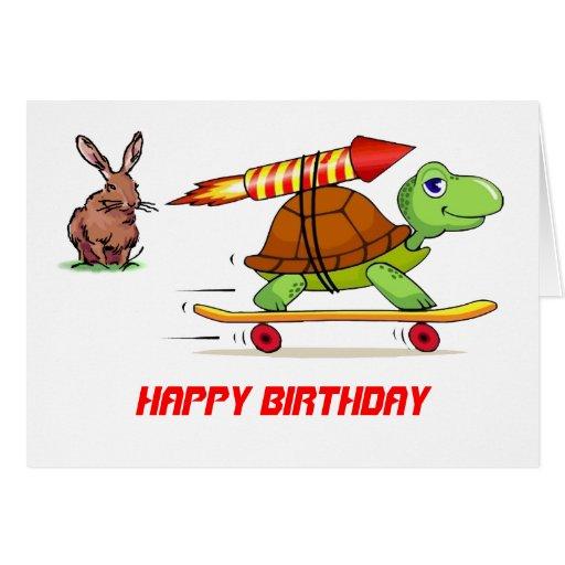 Anniversaire à fusée propulsée de tortue et de liè cartes de vœux