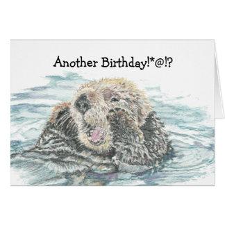 Anniversaire animal humoristique de loutre mignonn cartes de vœux
