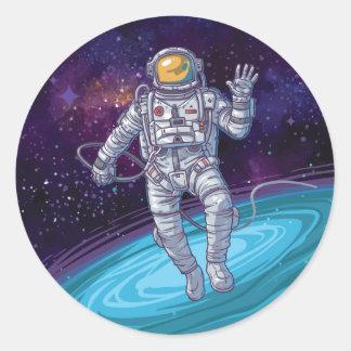 Anniversaire. Astronaute dans l'espace avec les Sticker Rond