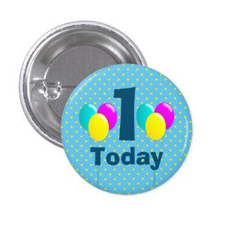 Anniversaire, ballons, pois bleu personnalisable badge