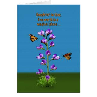 Anniversaire, belle-fille, fleurs et papillons cartes