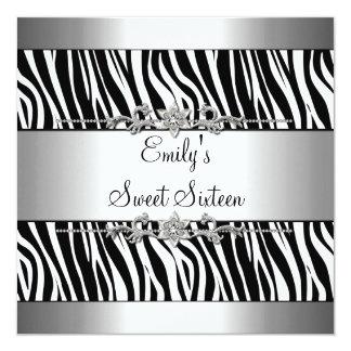Anniversaire blanc noir d'argent de zèbre du sweet carton d'invitation