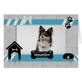 Anniversaire bleu-clair du carte photo de chien