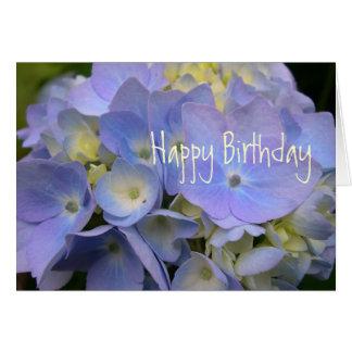 Anniversaire bleu d'écriture sainte d'hortensia carte de vœux