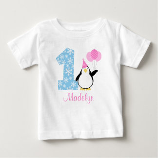 Anniversaire bleu rose d'Onederland d'hiver de T-shirt