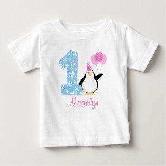 Anniversaire bleu rose d'Onederland d'hiver de T-shirt Pour Bébé