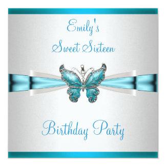 Anniversaire bleu turquoise de papillon de blanc carton d'invitation  13,33 cm