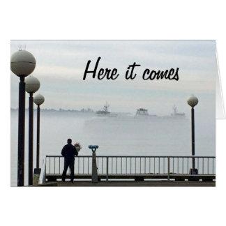 Anniversaire brumeux de ferry-boat de Seattle Carte De Vœux