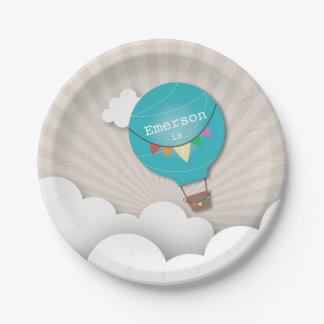 Anniversaire chaud bleu de ballon à air assiettes en papier