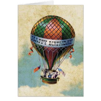 Anniversaire chaud coloré vintage de ballon à air carte de vœux