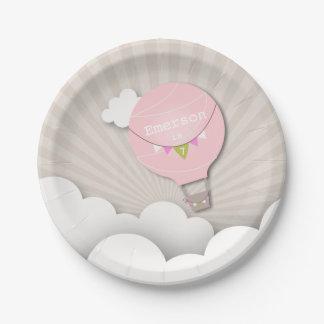 Anniversaire chaud rose de ballon à air assiettes en papier