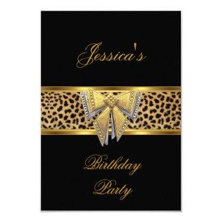 Anniversaire chic élégant d'arc noir de léopard carton d'invitation 8,89 cm x 12,70 cm