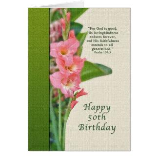 Anniversaire, cinquantième, glaïeul rose, carte