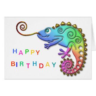 Anniversaire coloré frais de caméléon carte de vœux