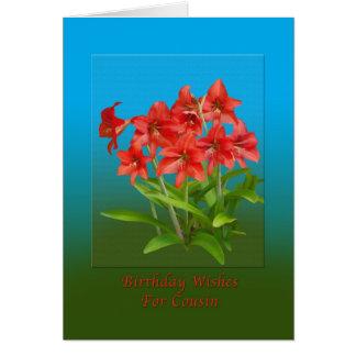 Anniversaire, cousin, hémérocalles rouges carte de vœux