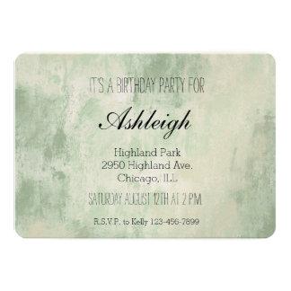 Anniversaire crème vert d'abrégé sur sable de carton d'invitation  12,7 cm x 17,78 cm