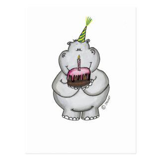 Anniversaire d hippopotame - joyeux anniversaire cartes postales