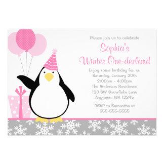 Anniversaire d Onederland d hiver de flocons de ne Invitation Personnalisée