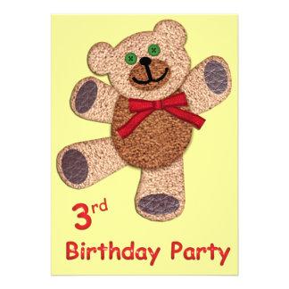 Anniversaire d ours de nounours 3ème invitation personnalisable