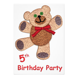 Anniversaire d ours de nounours 5ème invitations