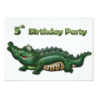 Anniversaire d'alligator vert de bande 5ème invitations personnalisées