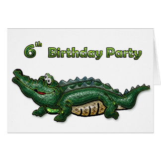 Anniversaire d'alligator vert de bande 6ème carte de vœux