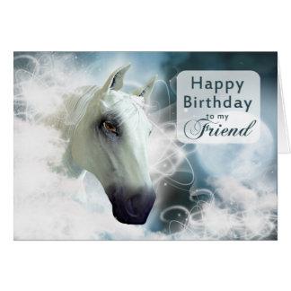 Anniversaire d'ami, un cheval Arabe Cartes
