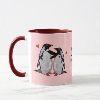 Anniversaire d'amour de pingouin 25ème tasses