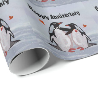 Anniversaire d'amour de pingouin papier cadeau noël