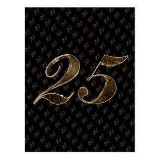 Anniversaire d'anniversaire d'or noir du numéro 25 carte postale