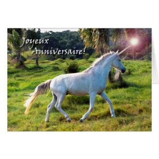 Anniversaire dans la licorne française et magique carte de vœux