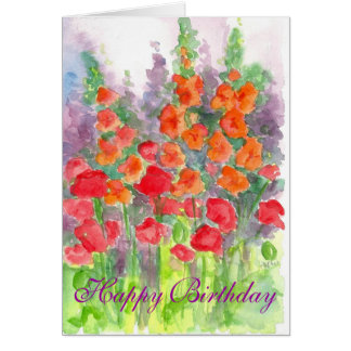Anniversaire d'aquarelle de fleur de Gladiola de Carte De Vœux