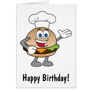 Anniversaire de bande dessinée de cheeseburger carte de vœux