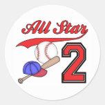 Anniversaire de base-ball d'All Star 2ème Autocollants Ronds