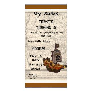 Anniversaire de bateau et de carte de pirate carte avec photo