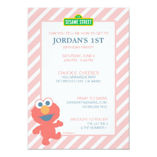 Anniversaire de bébé d'Elmo Carton D'invitation 12,7 Cm X 17,78 Cm
