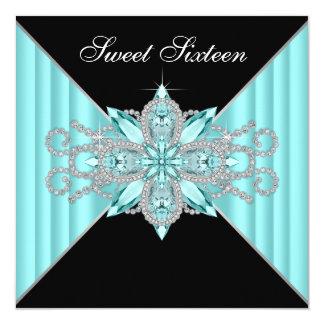 Anniversaire de bleu et de noir de turquoise de carton d'invitation  13,33 cm