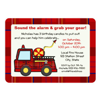 Anniversaire de camion de pompiers de plaid carton d'invitation  12,7 cm x 17,78 cm