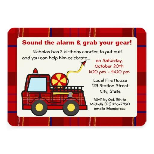 Anniversaire de camion de pompiers de plaid invitations personnalisées