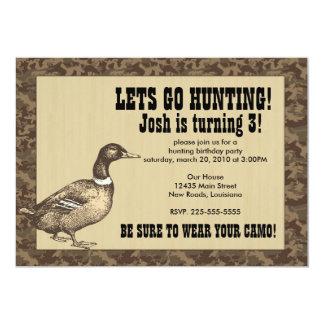 Anniversaire de chasse de canard invitations personnalisées