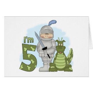 Anniversaire de chevalier de dragon 5ème cartes de vœux