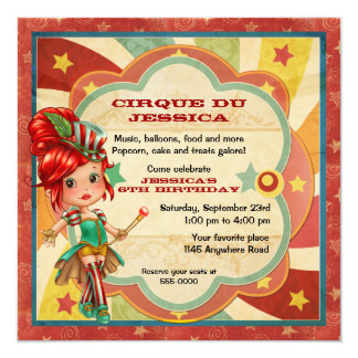 Anniversaire de cirque de filles carton d'invitation  13,33 cm
